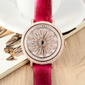GOOD LUCK Rotating Sunflower Women Crystals Watches Light Extravagant Lady Dress Wrist watch Leather Quartz Relojes