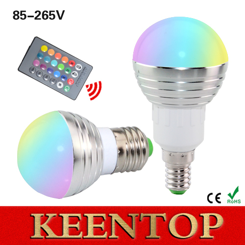 1Pcs E27 E14 LED RGB Bulb lamp AC110V 220V 5W LED RGB Spot light dimmable magic Holiday RGB lighting+IR Remote Control 16 colors()