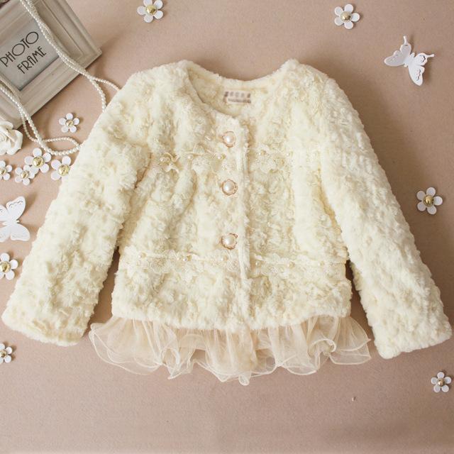 Бесплатная доставка марка детские пальто Зимнее 2017 baby clothing Девушки Корейских моделей взрыва жемчужина кружева плюшевые кожаная куртка трава