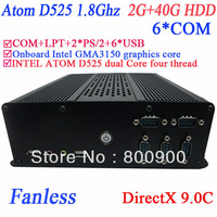 fanless mini pc portable with 6 COM Intel D525 1.8Ghz GMA3150 graphics nm10 LPT 6 USB DirectX 9.0C 2G RAM 40G HDD