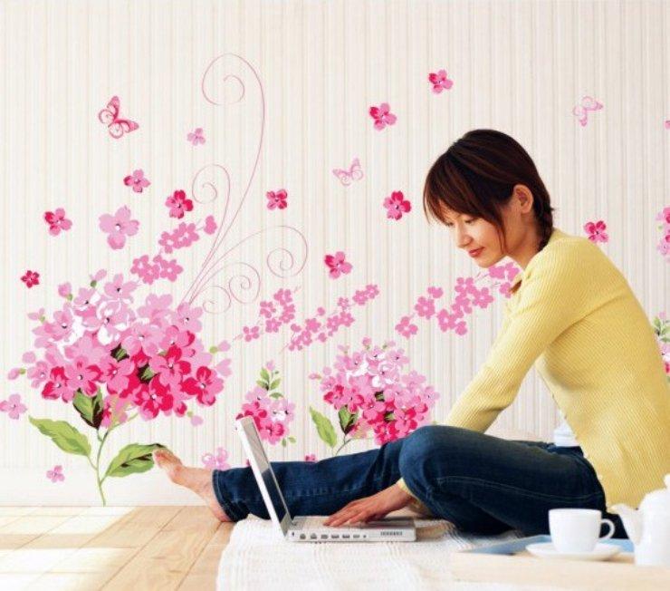 romantique mer de fleurs autocollant de mur de bricolage papier peint amovible pour chambre. Black Bedroom Furniture Sets. Home Design Ideas
