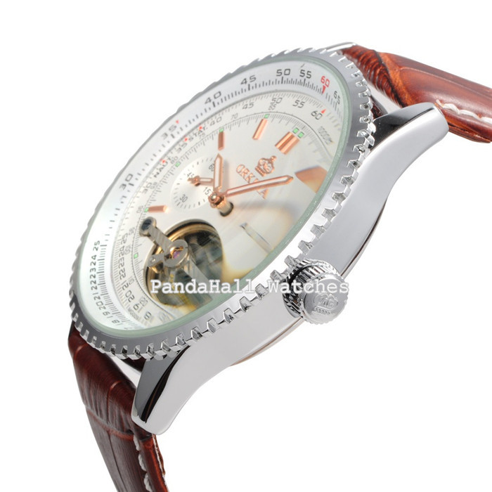 Orkina Luxury Brand Наручные Часы Большой Дейл Мужчины Автоматические Механические Часы Кожаный Ремешок Часы Подарок Для Мужчин