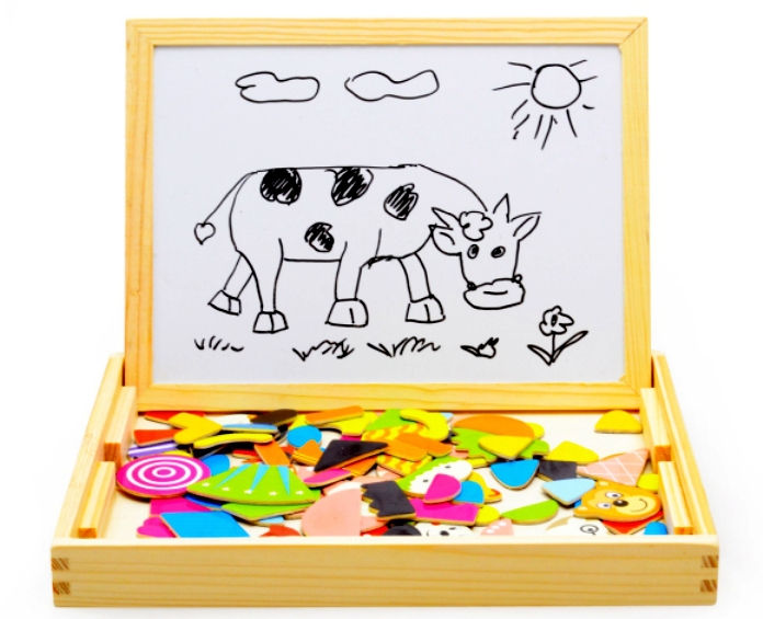 Multifunctional Wooden Chalkboard Animal Magnetic Puzzle Whiteboard  Blackboard Drawing Easel Board Arts Toys for Children Kids(China (Mainland))