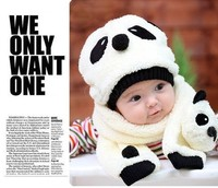 Special Offers! hot children hat 100% wool hat+scarf two piece set Panda cap bebes animal cap Warm winter Gift photography 38