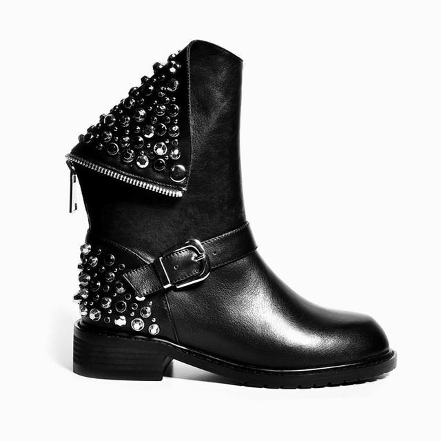 PU genuine leather women boots