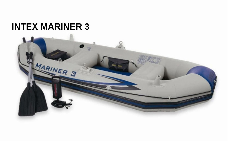 INTEX MARINER SUPER 3 person inflatable boat 297*127*46cm,hard bottom, 137cm Alumnium oars, double action pump, repair patch(China (Mainland))