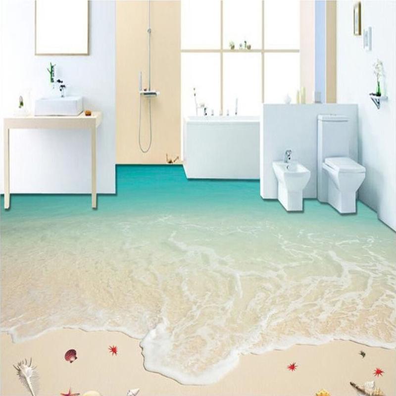 Customized Any Size Floor Wallpaper 3D Beach Surf Mural