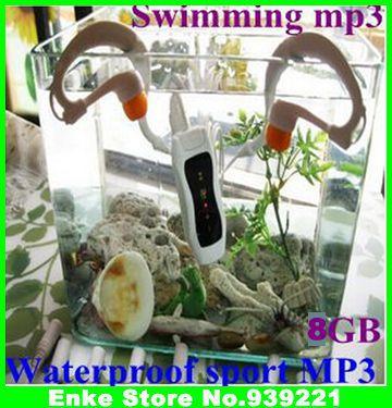 2013 newest 8GB Swimming Diving MP3 Water IP*8 Waterproof MP3 Player FM Radio Earphone 2pcs/lot(China (Mainland))