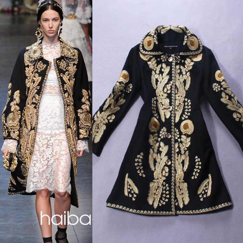 Wool Blends winter Gold Embroidery Coat New higt street fashion women's Jacket Overcoat S-XXXL black - Joan and Davie store