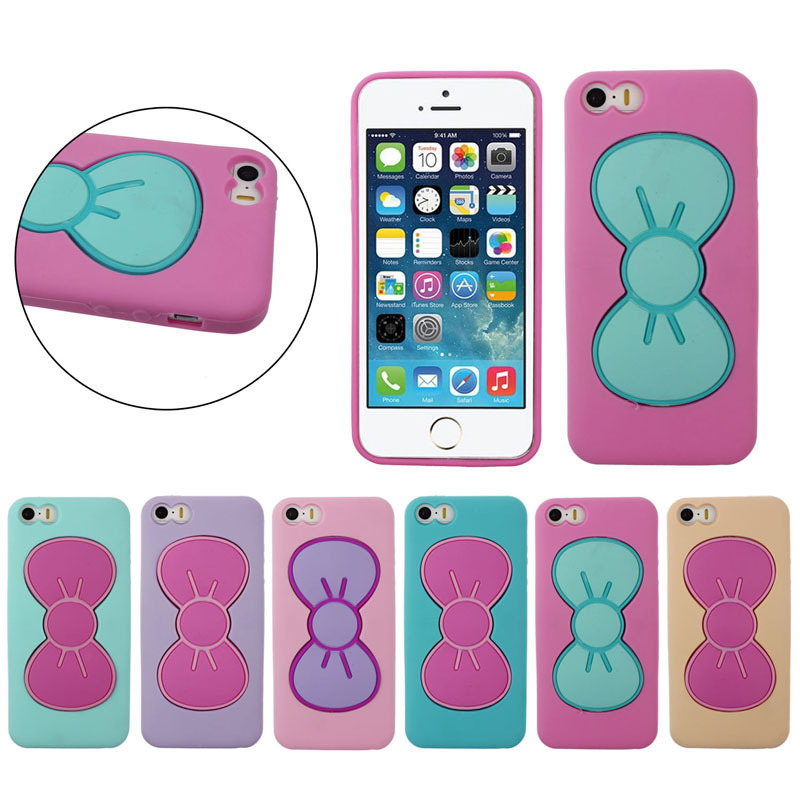 New Cute Mobile Phone Case 3D Lovely Butterfly Bow Case Cover Stand Holder For Iphone6/6plus Brand New Arrive 2015(China (Mainland))