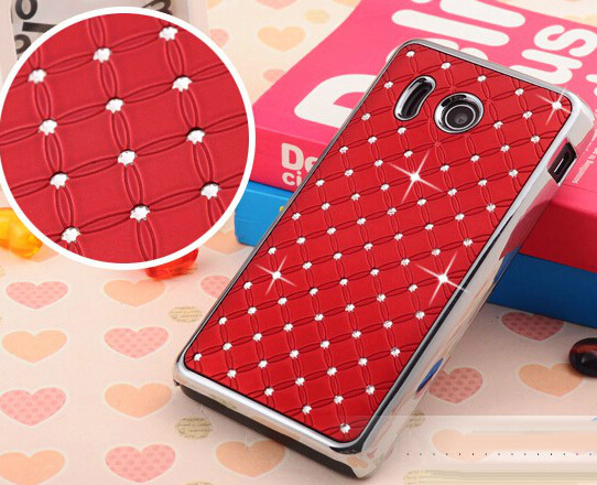 9 Color to Choose Case For Huawei Ascend Y300 Hard Protective Back Hot Selling Bling Diamond Chrome Design Cover(China (Mainland))