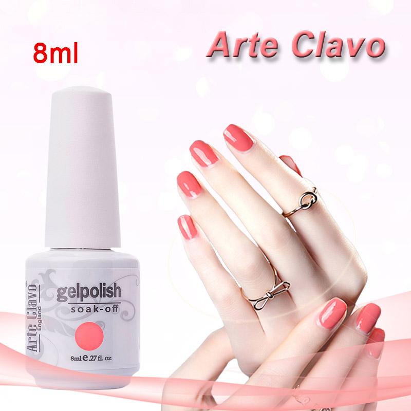 Hot Sale ARTE CLAVO 8ml Nail Gel Any One Color Nail Art UV Gel Top Coat Set Kit Soak Off Color UV Gel Nail Polish(China (Mainland))