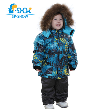 Boys Winter Jacket 3-8 Age Kids Winter Coat Fur Hooded Unisex Parka Two-Piece Suit Jacket SP-SHOW Down & Parkas Snowsuit 004M