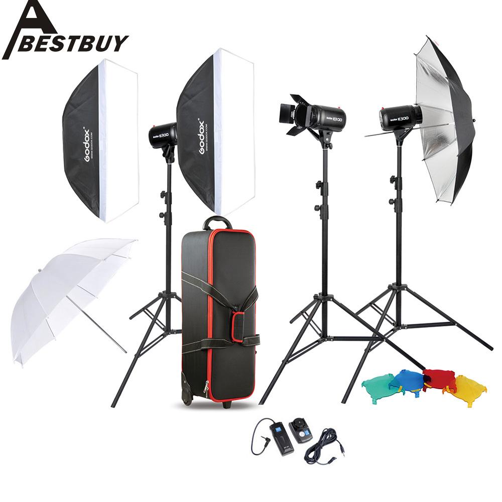 Godox Photo Studio Speedlite Lighting Lamp Kit Set with 300W Studio Flash Strobe Light Stand Softbox Soft Reflector Umbrella(China (Mainland))
