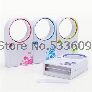 Free shipping 72pcs/Lot ABS Mini Bladeless fan, delicate packing Hold USB no leaf air-condition, mix color shipment(China (Mainland))