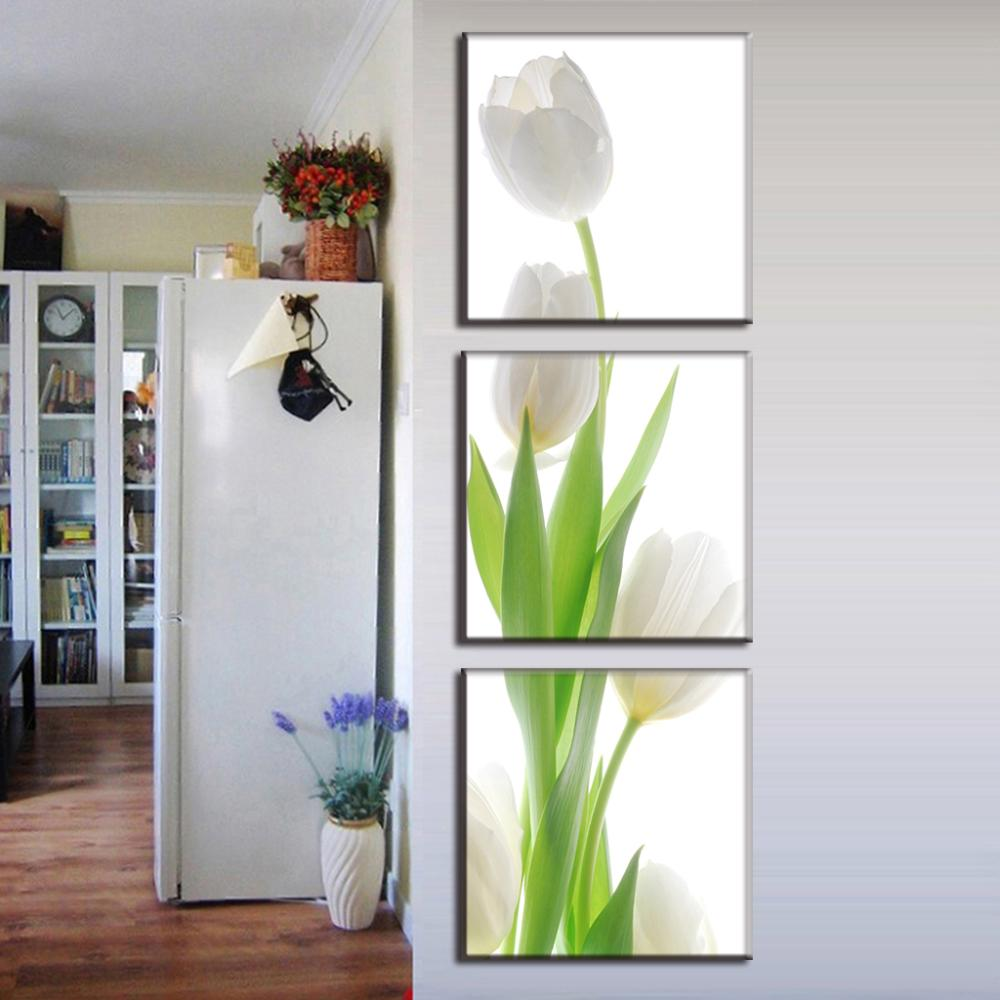 3 Pcs/Set Modern wall paintings flower White Tulip canvas print home decoration wall pictures for living room(China (Mainland))