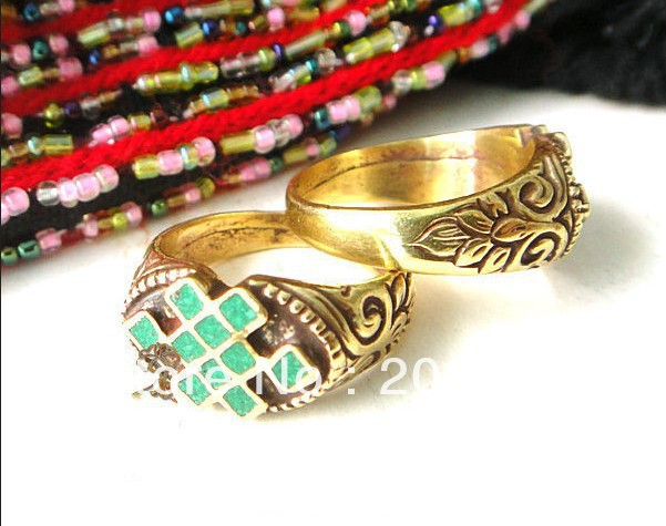 R058 Tibetan brass carved lucky knots amulets rings,turquoise,coral,lapis powder,mix order(China (Mainland))