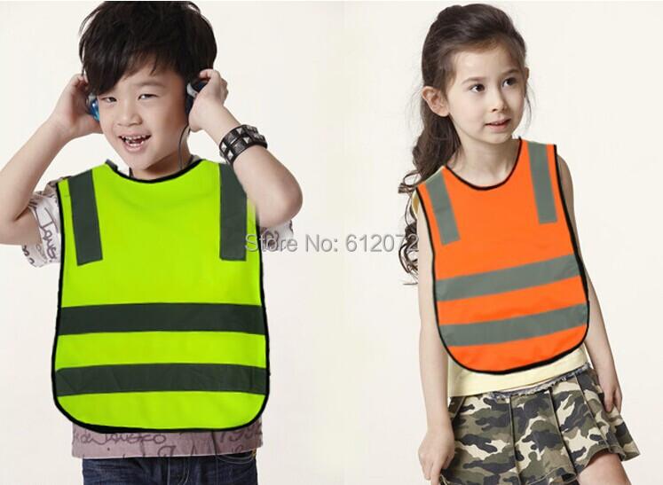 Wholesale 10pcs/lot 110GSM knitting polyester fabric kids reflective safety vest children Hi Viz safety vest size 42*47cm(China (Mainland))