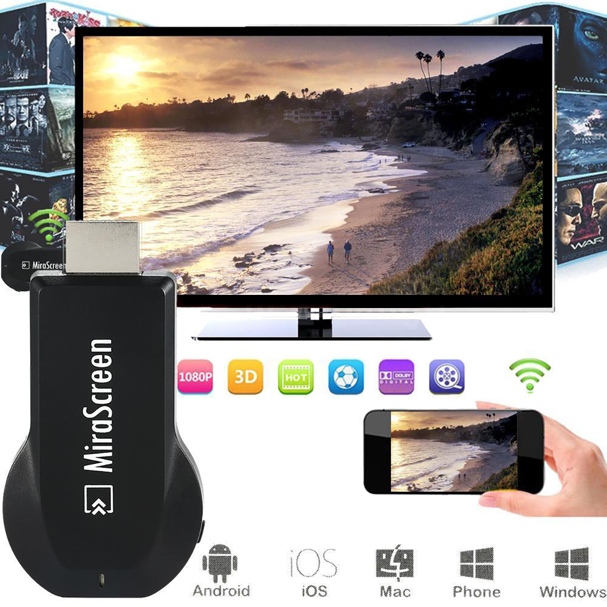 Mirascreen OTA TV Stick HDMI Dongle Wifi Display Receiver AirPlay Projection for IOS/Android Phone Tablet PC to TV AH094(China (Mainland))