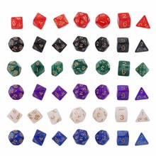 Buy 7 Pcs Set Bright Color Digital Dice Creative Multi-Faceted Pearl Gemmed Acrylic Dice 16-20mm D4 D6 D8 D10 D12 D20 for $1.43 in AliExpress store