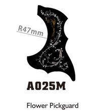 "10pcs A025M Flower Bird Pattern 34"" 36"" Acoustic Guitar Pickguard Guard Self Adhesive R47mm Black Small Size(China (Mainland))"