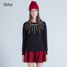 2016 New Winter Women's Fashion Trend European And American Style Gilt Wild Women Solid Color Sweater Sweater Female