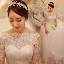 Illusion neck backless one word shoulder lace long sleeve bridal gown