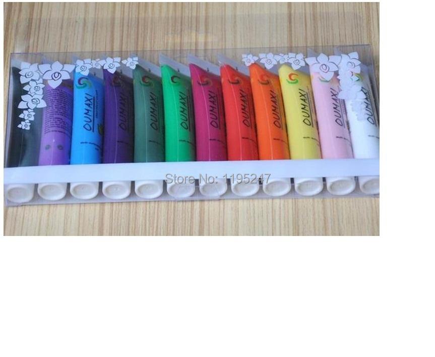 12pcs/lots for 12 Colors Pro Acrylic Paint Nail Art Polish 3D Paint Decor Design Tips Tube Set #31120 with free shipping(China (Mainland))