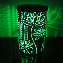 Lotus Printed Color Changing (RGB) Cylinder Solar Lantern Lamp Waterproof Outdoor / Indoor Decorations Night Light(China (Mainland))