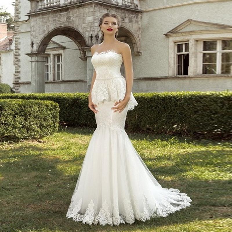 Кружева русалка свадебные платья 2016 развертки поезд на заказ элегантный Vestidos Novia без бретелек рукавов халат де mariage F534