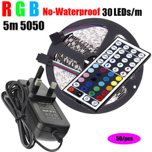50/Pieces 5m RGB SMD 5050 LED Strip 150Led Lamps DC12V light + IR Remote Controller 12V 2A Power Adapter - Shenzhen led lights Electronic technology co., LTD store