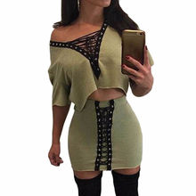 Buy Heyouthoney Women sexy party summer v-neck lace shoulder tshirts crop tops mini bodycon skirts two pieces sets suits for $13.64 in AliExpress store