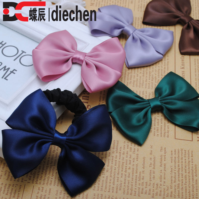 2piece silk solid satin ribbon bows ponytail holders elastics scrunchies hair bands accessories for women headwear(China (Mainland))