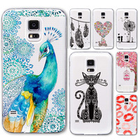 Cover for Samsung Galaxy S5 i9600 S6 Phone Cases Ultra Thin Soft Tpu Transparent Cat Flowers Clear Back Capa Skin Protective