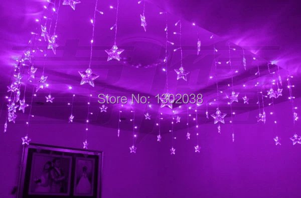 LED Garlands Christmas Lighting Wedding Party Marriage Room Window Decoration Chandelier 3.5M 100 LEDs 20p five-pointed Stars(China (Mainland))