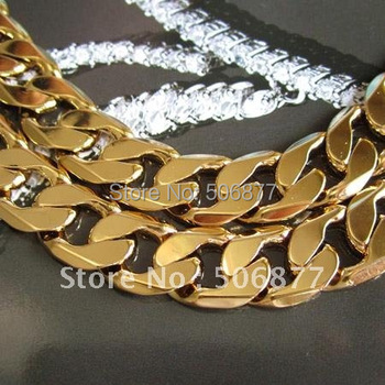 "Heavy Men's 18k Yellow gold filled necklace 20"" Curb chain 12mm width Free Shipping"
