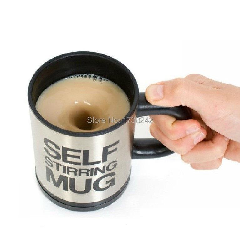 1Pcs Automatic Plain Mixing coffee Tea cup Lazy Self strring mug button Pressing(China (Mainland))