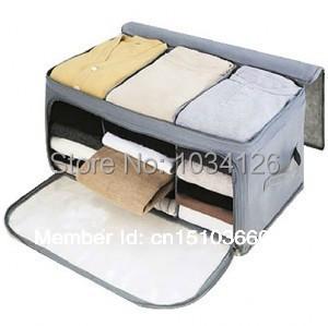 Free Shipping Visual double open bamboo charcoal storage box finishing box storage box(China (Mainland))