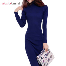Buy AKSLXDMMD 2017 New Women Dress Autumn Winter Sweater Dresses Slim Turtleneck Long Knitted Dress Sexy Bodycon Robe dress D019 for $17.19 in AliExpress store