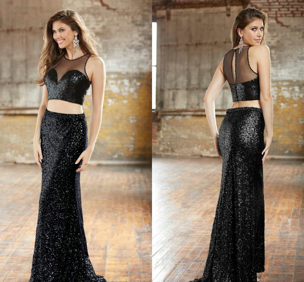O Neck Mermaid Black Sequins Fabric Two Piece Prom Dresses Fast Shipping Long Dress Custom Made - Abby's Bridal Studio store