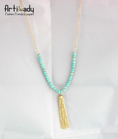 Artilady women europe gold plating turquoise pendant necklace jewelry women necklaces turquoise long tassels pendant necklace
