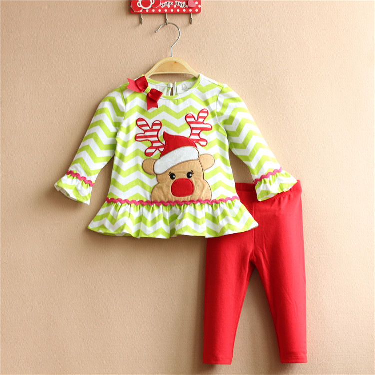 Lovely Christmas girls Kids Clothin Good Quality Suit long sleeve T Shirt +Pants Children Suits outfit Fall New Toddler Wear(China (Mainland))