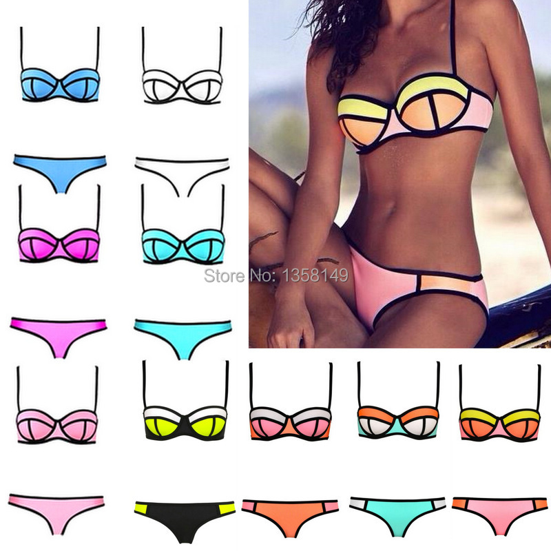 2015 Fashion Women Sexy Bikini With Rims Triangle Bra Bikini Women's Hot Swimsuits Biquini Ladies Swimwear Beachwear Bikini Set(China (Mainland))
