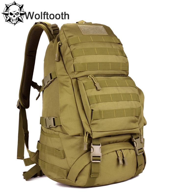 Men Women Unisex Outdoor Military Tactical Backpack Hiking Bag Rucksack 45L MOLLE Large Big Tactical Army Ergonomic Backpack Bag