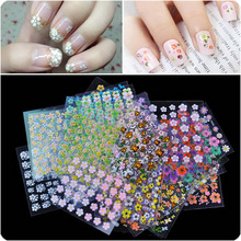 by dhl or ems 2000 packs 30 Sheet/pack 30 Sheets Floral Design 3D Nail Art Stickers Decals Manicure Decoration Beautiful Fashion(China (Mainland))