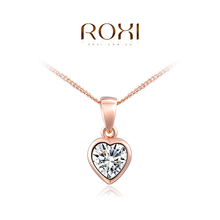 1PCS Free Shipping! Fashion Austrian Crystal Heart Necklace for Women Rose Gold Plated Gift Jewelry
