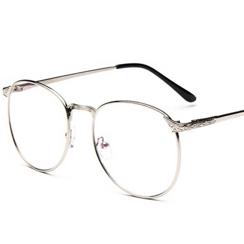 Vintage Unisex Retro Stars Round Metal Frame Clear Lens ...