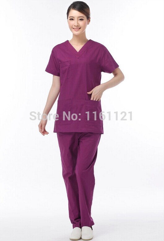 2014 Summer women hospital medical uniform in scrub set clothes and surgical uniform set 100% cotton breathable free ironing(China (Mainland))