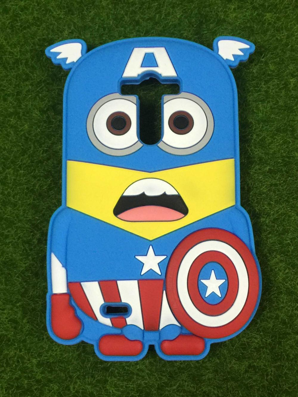 LG Optimus G3 D850 Covers 3D Cartoon Soft Silicone Back Cover Phone Case Captain America Minnions - Rose Angel store