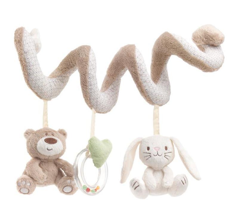 2015 Cute Bear&Rabbit Design Spiral Activity Stroller Car Seat Cot Lathe Hanging Toys Newborn Baby Rattles Infant Toys(China (Mainland))